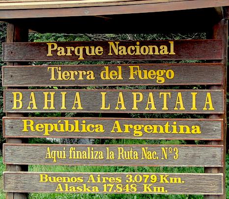 cartello Baia Lapataia Patagonia